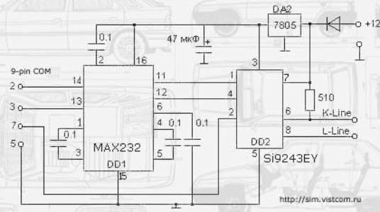 Адаптер K-L-Line классическая схема - Проверенные схемы.